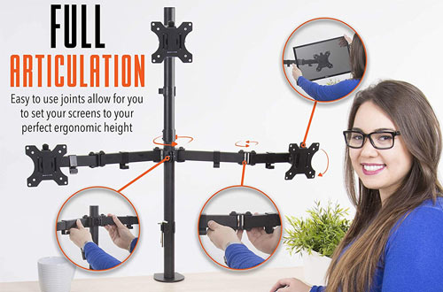 Adjustable Triple Monitor Stand with Full Articulation and Desk Clamp