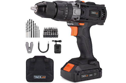 TACKLIFE 20V Electric Cordless Drill with Hammer Action