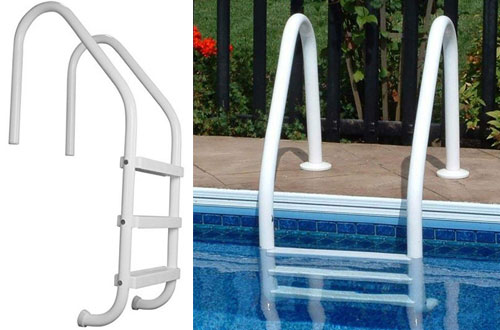 SAFTRON White 3-Step in Ground Swimming Pool Ladder