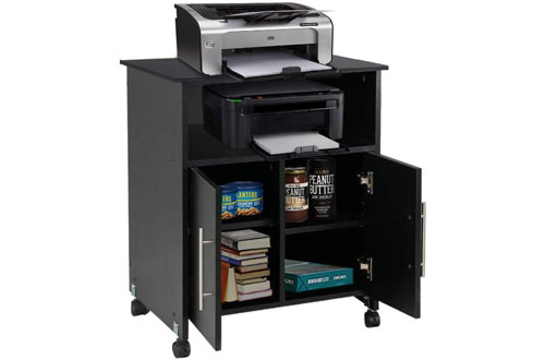 Topeakmart Rolling Printer Stands Cart Storage Cupboard Black