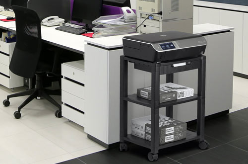Halter LZ-308 Rolling Printer Cart Stand with Cable Management