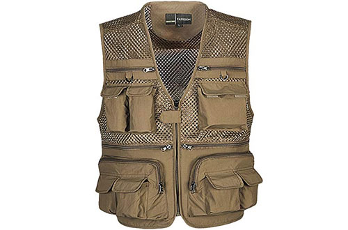 Zhusheng Mens Mesh Outdoor Work Fishing Travel Photo Vest