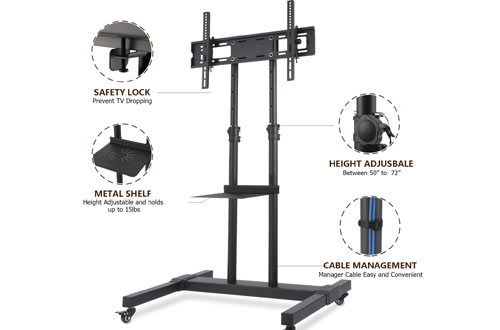 TAVR Tall Rolling Mobile TV Cart Floor Stand