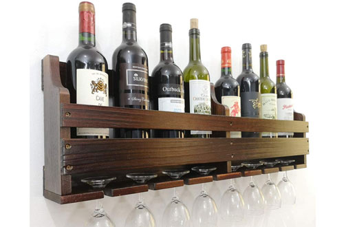 TUORUI Rack Wall Mounted, Wine Glass & Wine Bottle Display