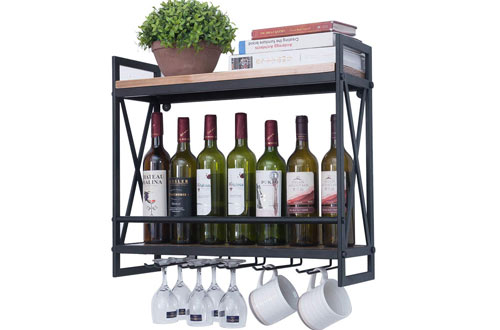 Industrial Wine Racks Wall Mounted with 5 Stem Glass Holder