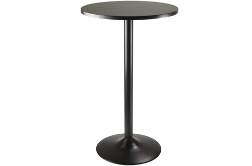 Winsome Obsidian Black Pub Table Round MDF Top