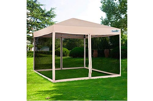 Quictent 6.6x6.6 Ez Pop up Canopy with Netting Small Screen House Tent Side Wall Roller Bag Included (Tan)