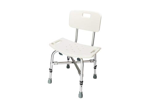 OMECAL 450LBS Heavy Duty Shower Bath Chairs with Backrest,Upgraded Aluminum Alloy FDA Approved Non-Slip Adjustable Height, Medical Safety Seat Stool Benches