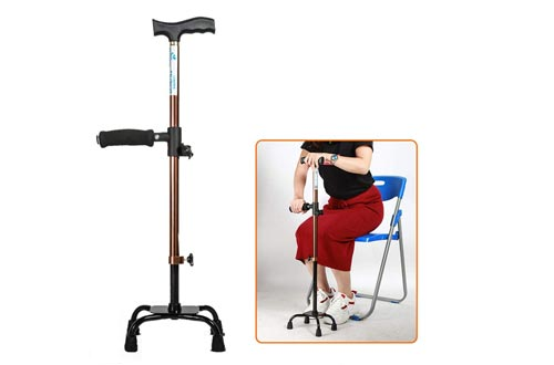 Four-Legged Crutches Adjustable Quad Canes Lightweight Walking Stick for Men, Women and Elderly Walking Cane with Double T Handle Easy Sit-Stand Canes for Stability