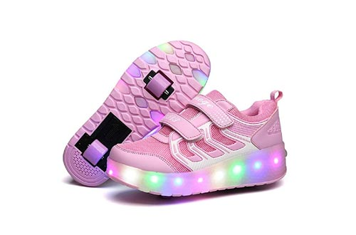 Nsasy Roller Shoes Kids Roller Skates Shoes Girls Boys Wheels Shoes Become Sport Sneaker with Led