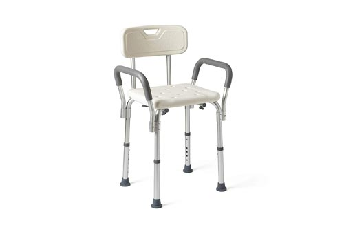 Medline Shower Chairs Bath Seat with Padded Armrests and Back, Great for Bathtubs, Supports up to 350 lbs