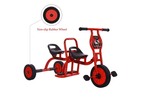 COOL-Series Tandem Bicycle for Two Children Kids Trike Children Tricycle Stroller with Trike 3 Rubber Wheel & Pedal Bike