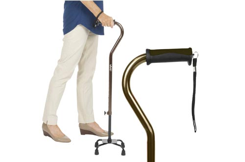 Vive Quad Canes - Walking Stick for Men and Women - Lightweight Adjustable Staff - Comfortable Right and Left Hand Grip