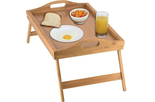 Home-it Bed Trays table with folding legs, and breakfast trays Bamboo bed table and bed trays with legs