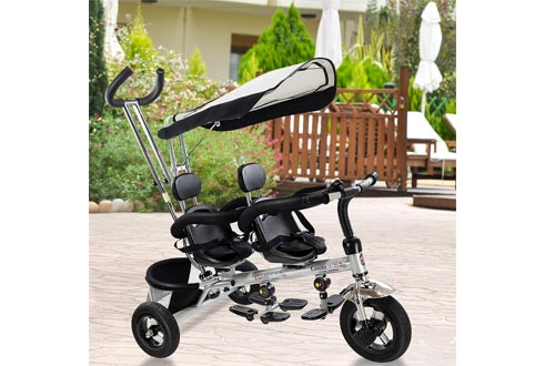 Costzon Kids Trike, 4 in 1 Twins Tricycle, 360°Rotatable Seats, Steer Stroller Detachable Canopy, Foldable Foot Pedals, Storage Basket
