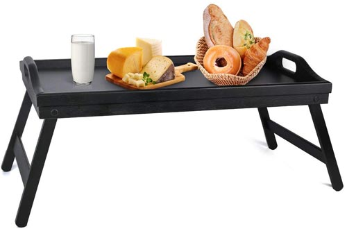 Bed Trays Table with Folding Legs Wooden Serving Breakfast in Bed or Use As a, Platter Trays, TV Table, Laptop Computer Tray, Snack Tray
