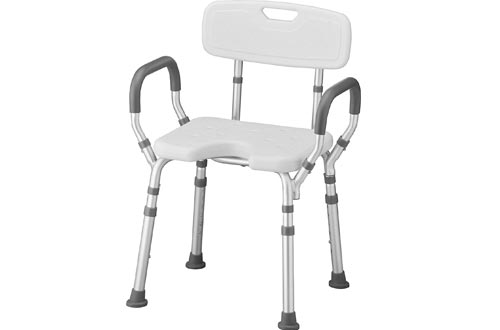 NOVA Shower & Bath Chairs with Back & Arms & Hygienic Design, Quick & Easy Tools Free Assembly, Lightweight & Seat Height Adjustable, Great for Travel