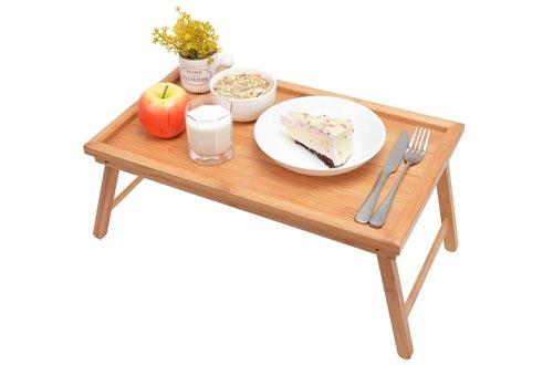 Zhuoyue Bamboo Bed Trays with Folding Legs, Lap Trays Breakfast Trays Great