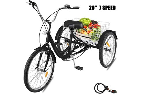 Happybuy Adult Tricycle 1 Speed 7 Speed Size Cruise Bikes 20 Inch Adjustable Trike with Bell, Brake System Cruiser Bicycles Large Size Basket for Recreation Shopping Exercise