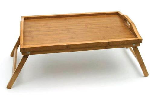 "Lipper International 8863 Bamboo Wood Bed Trays with Folding Legs, 19.75"" x 12"" x 9.5"""