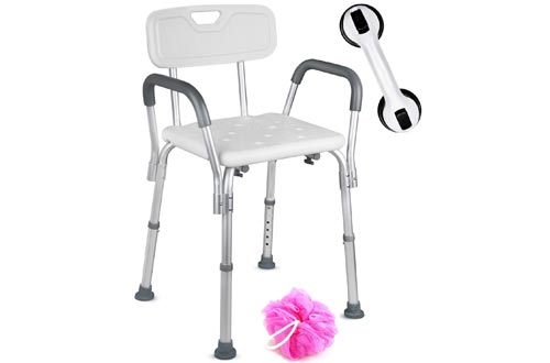 Dr. Maya Adjustable Shower Chairs with Back and Arms - Free Suction Assist Grab Bar - Anti-Slip Bench - Bathtub Seat