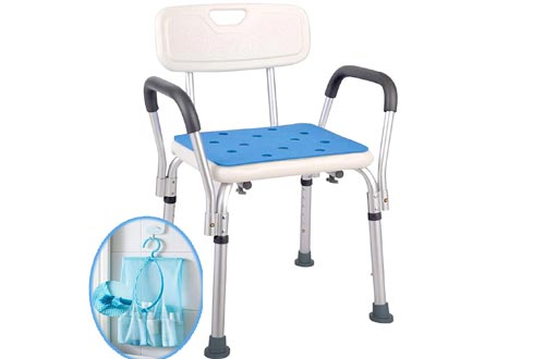 Medokare Shower Chairs with Rails - Shower Seat with Arms for Seniors with Tote Bag and Handles, Tall Shower Chairs