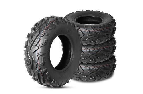 Weize Set of 4 ATV/UTV Tires 2 x Front 25X8.00-12 P3055 & 2 x Rear 25x10.00-12 P3056 6PLY