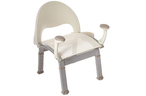 Moen DN7100 Home Care Premium Adjustable Bath Safety Shower Chairs with Back and Arm Rests, Glacier
