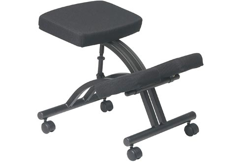 Office Star Ergonomically Designed Knee Chairs with Casters, Memory Foam and Black Metal Base Black