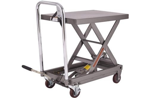 Cypress Shop Rolling Hydraulic Table Cart Lift Tables Material Handling Foot Pump Foot Pedal Hand Lever Heavy Duty Oil Resistant Rubber Mat Prevent Slippage Swivel Casters Wheels Capacity 500lbs