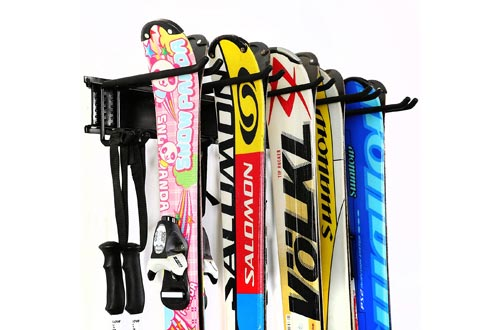 Ultrawall Ski Wall Rack, 5 Pairs of Snowboard Racks Wall Mount,Home and Garage Skiing Storage Mount Hold up to 300lbs