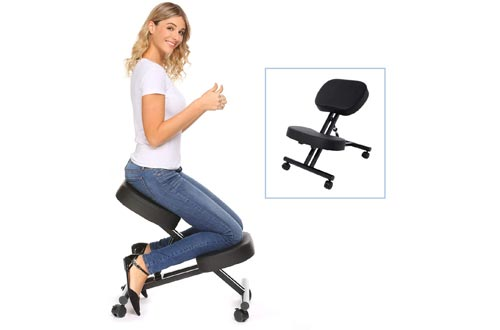 Himimi Ergonomic Kneeling Chairs - Faux Leather - Thick Comfortable Moulded Foam Cushions - Smooth Gliding Casters & Brake Casters,Adjustable Stool for Home & Office