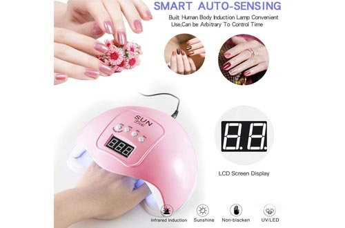 Gel UV LED Nail Lamps,LKE Nail Dryer 48W Gel Nail Polish LED UV Light with 3 Timers Professional Nail Art Tools Accessories White Pink