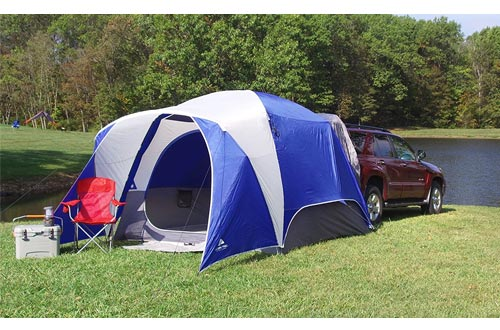Spacious and Durable Ozark Trail 5-Person SUV Tents, With Media and Multiple Storage Pockets,Attached Mud Mat,Roll-Back Rainfly,Perfect