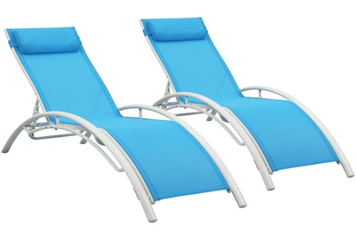 Patio Chaise Lounge Sets,Outdoor 4 Adjustable Reclining Chaise Lounge Chairs,with Removable Pillow (Set of 2)