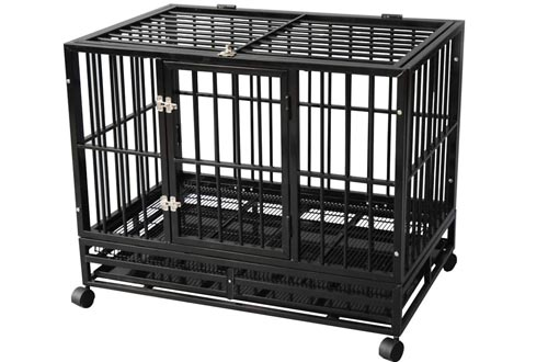 TONYRENA 37 inch Heavy Duty Strong Folding Metal Dog Crates Kennel Playpen for Large Dogs and Pets with Patent Lock and Lockable Wheels&Tray