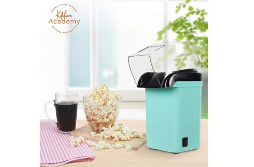 Kitchen Academy Hot Air Popcorn Poppers, No Oil Popcorn Maker with Measuring Cup and Removable Lid