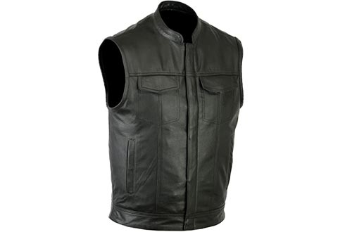 Ruja Sports SOA Style Genuine Leather Motorbike Vests with Inside Pockets