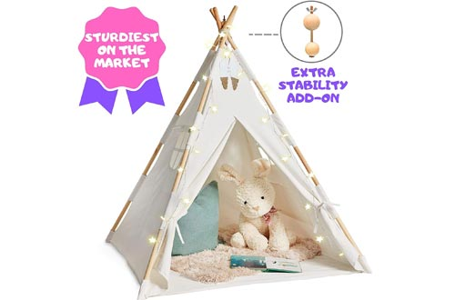 EQOYA Teepee Tents for Kids with Lights - Pure Cotton Kids Tepee Tents Indoor for Boys and Girls, Baby and Toddler - Great for Outdoor Play Tee Pee for Children - Sturdy and Comfort Tipi Play-House