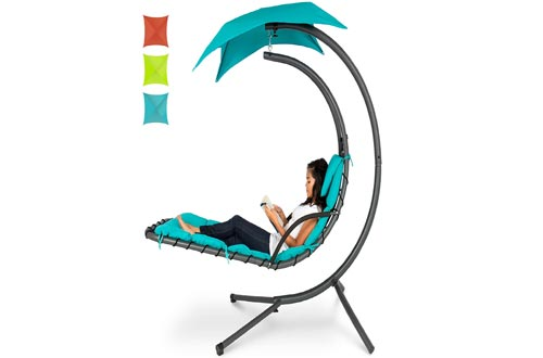 Best Choice Products Hanging Curved Chaise Lounge Chairs Swing for Backyard, Patio w/Pillow, Canopy, Stand - Teal