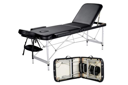 Yaheetech Massage Tables Portable Massage Bed 3 Folding 84 Inch Aluminium Frame Lightweight Height Adjustable Salon Spa Tables with Carry Case - Black