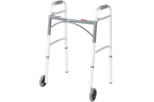 Drive Medical Deluxe Two Button Folding Walkers with 5-Inch Wheels