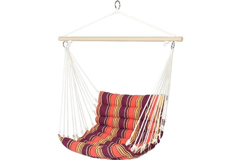 Best Choice Products Indoor Outdoor Padded Hanging Cotton Hammock Chairs w/ 40-inch Wooden Spreader Bar, Orange