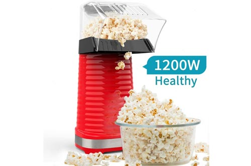 Be1 Electric Hot Air Popcorn Poppers Maker for Home Party Kids, No Oil Needed, High Efficiency, Healthy Snack and Less Calories, DIY Your Own Taste-Red