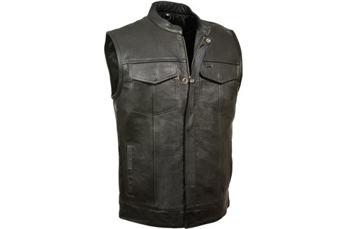 Milwaukee Leather Men's Open Neck Snap/Zip Front Club Style Vests (Black, X-Large)