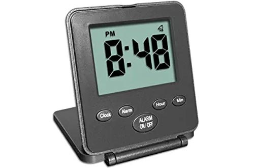 Digital Travel Alarm Clocks - No Bells, No Whistles, Simple Basic Operation, Loud Alarm, Snooze, Small and Light, ON/Off Switch, 2 AAA Battery Powered, Black