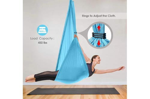 INTEY Aerial Yoga Flying Yoga Swings Yoga Hammock Trapeze Sling Inversion Tool for Gym Home Fitness (with Ceiling Anchors)