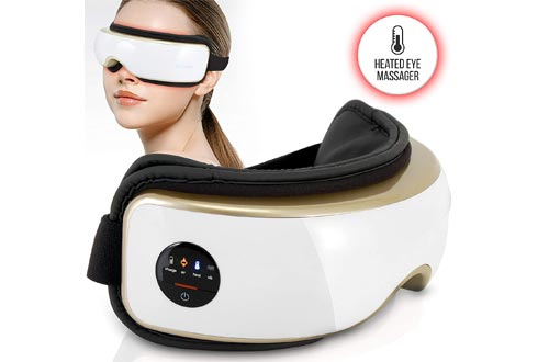 Heated Therapy Electric Eye Massagers - Wireless Temple and Eye Massagers Tool with Air Pressure and Vibration for Migraine, Built-in Battery, Headache and Stress Relief Equipment - SereneLife SLEYMSG55