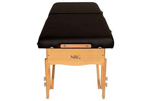 Chi Massage Portable Tables Package by NRG - Lightweight, Folding Massage Therapy Tables - Ultra Comfortable - Made of Durable White Oak - Premium Headrest with Cushion, Carry Case - Color Black