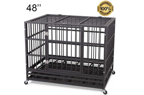 "JY QAQA PET Heavy Duty Dog Cage Strong Folding Metal Crates Kennel for Medium and Large Dogs with Double Door, Two Prevent Escape Lock, Tray and Rolling Wheels (36"" 38'' 42"" 48"")"